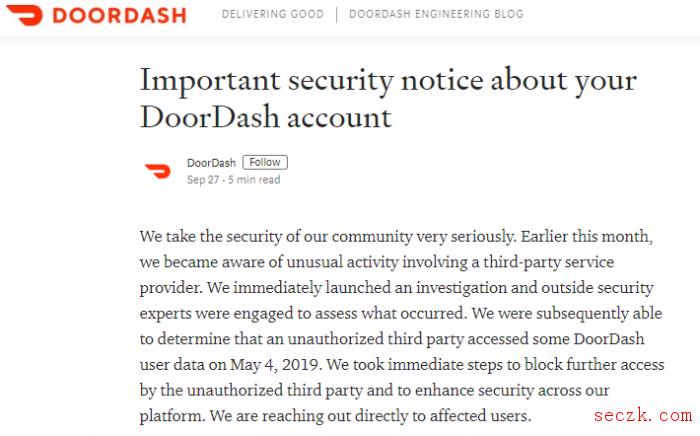 美国外卖服务DoorDash数据泄露:影响490万人