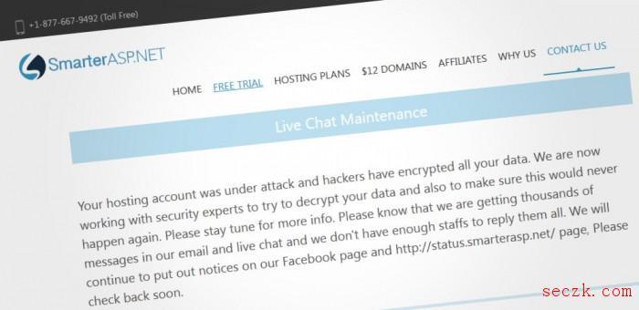 托管提供商SmarterASP.NET承认遭到勒索软件攻击 客户数据被加密