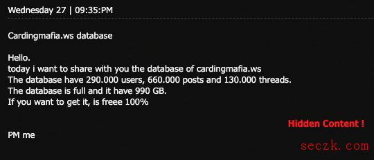 """一信用卡黑客论坛被""""黑吃黑"""" 30万个账户被曝光"""